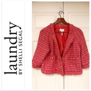 Laundry By Shelli Segal Jackets & Coats - LAUNDRY PINK TWEED STYLE OPEN FRONT JACKET